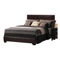 Monarch Specialties - Monarch Specialties I 5909Q Dark Brown Leather-Look Queen Size Bed - This elegant upholstered bed will add a sophisticated centerpiece to your contemporary master bedroom. A high headboard and a low side and end rails are covered in a lovely textural dark brown leatherette. The plush look is sure to complement your decor, anchored by sleek, PU black feet. Add this bed to your home to create a calming and inviting bedroom with lots of style. Upholstered Bed (1)