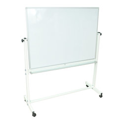Luxor Furniture - Double Sided Magnetic Whiteboard - Four 2 in. casters, two with locking brake. Easy to roll around the room. Whiteboard on one side and chalkboard on the other. Reversing mechanism for flipping to the other side a cinch. Easy adjusting knob locks. Large whiteboard will serve many purposes. Made from aluminum. Silver color. Minimal assembly required. Board: 48 in. W x 1 in. D x 36 in. H. Overall: 51 in. W x 20.5 in. D x 65 in. H (38 lbs.). Assembly instructions. Warranty