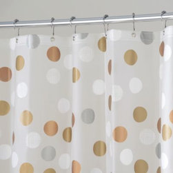 Interdesign - InterDesign Gilly Dot 72-Inch x 72-Inch Shower Curtain - This fun yet neutral shower curtain has metallic circles of bronze, white, silver and champagne on a frost background. It'll add a playful sophistication to your bathroom.