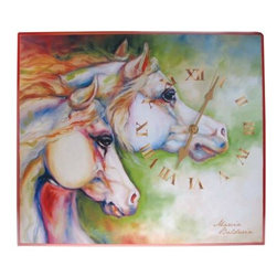 WL - Red Square Frame Wall Clock with Gentle Spirit Horses Design - This gorgeous Red Square Frame Wall Clock with Gentle Spirit Horses Design has the finest details and highest quality you will find anywhere! Red Square Frame Wall Clock with Gentle Spirit Horses Design is truly remarkable.