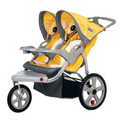 """InSTEP - Safari Swivel Wheel Double Stroller - Features: -Swivel wheel jogger double stroller.-Molded parent tray two cup holders.-Dual trigger folding mechanism.-Material handle grip slip resistant.-Pivoting molded child tray with two cup holders.-Folding mechanism with dual triggers.-Holds up to 2 children and has a maximum weight limit of 100 lbs. .-Collection: Safari.-Distressed: No.-Foldable: Yes.-Seating Capacity: 2.-Number of Wheels: 3.-Swivel Front Wheel: Yes.-Storage Included: Yes -Number of Cup Holders: 4..-Tray Included: Yes.-Weight Capacity: 100 lbs.Dimensions: -Overall Height - Top to Bottom: 40"""".-Overall Width - Side to Side: 32.25"""".-Overall Depth - Front to Back: 49"""".-Overall Product Weight: 43 lbs.-Wheel Diameter: 16""""."""