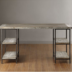None - Renate Desk - Incorporate an industrial vibe to your home with this Renate desk. This sturdy desk offers side shelving for extra storage and a large work space so you can spread out your work and still have room for a computer or lamp.