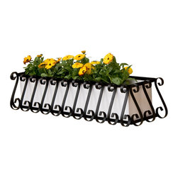 "Hooks & Lattice - European Window Box Cage with Metal Liner, 30"", White Pvc Liner - The European Window Box Cage with Liner is handmade by local artisans by Hooks & Lattice, a California-based company."