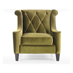 Armen Living - Modern Green Velvet Chair - Generate a comfortable atmosphere in your home with this modern take on a retro chair. This green velvet fabric chair features a button-tufted back with a diamond pattern and espresso wood legs.