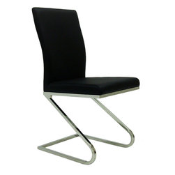 "Armen Living - Rondo Sidechair Black Leatherette - Set of 2 - Accentuating the contour, styling and appeal of this Rondo seating, with its exceptional visual appeal, brings this gathering forum together as one. 19"" seat height; Stainless steel construction; Supple Leatherette Upholstery; High Quality construction; Some assembly required; Sleek modern design; Dimensions: 36""H x 17""W x 19""D"