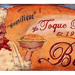 Red Horse Signs - La Toque Bakery Large -Vintage Restaurant and Kitchen Sign - La  Toque  Bakery  is  a  vintage  design  perfect  for  your  kitchen  or  restaurant.  Featuring  a  French  chef  holding  a  steaming  pie,  the  sign  is  printed  directly  to  distressed  wood  giving  it  a  weathered  appearance  and  classic  appeal.  Perfect  for  kitchen  or  casual  dining  room  this  real  wood  sign  measures  40x14  inches.  Wording  may  be  customized.                  Keyhole  Hanging  Opening              Recommended  for  indoor  use              40  W  x  14    H