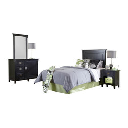 Adarn Inc - 4 PC Mission Black Twin Bedroom Set - Headboard Nightstand Dresser Mirror - This listing is for 1 Headboard + 1 Dresser + 1 Mirror + 1 Nightstand Only. Other decorations are NOT included. Brand new in original boxes and some simple assembly required.