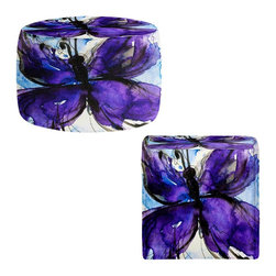 DiaNoche Designs - Ottoman Foot Stool by Kathy Stanion - Butterfly Song no. IV - Lightweight, artistic, bean bag style Ottomans. You now have a unique place to rest your legs or tush after a long day, on this firm, artistic furtniture!  Artist print on all sides. Dye Sublimation printing adheres the ink to the material for long life and durability.  Machine Washable on cold.  Product may vary slightly from image.