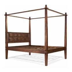 Tansu / Tropical - Tropical Canopy Bed, Standard King - The Tropical Bedroom Collection sports a tasteful, contemporary design that will enhance almost any modern bedroom d̩cor. Each piece features a rustic finish that accentuates the natural beauty of the solid Mahogany, emanating warmth while still remaining loyal to its modern design. The collection incorporates handcraftsmanship into every piece, using tenon joinery to make it durable and reliable for years. With a wide assortment of furniture pieces, the Tropical Collection not only looks great, but offers an impressive amount of storage space as well. For a modern bedroom looking to have it all, this collection is a must have.The four poster Tropical Canopy Bed offers the exotic look of a 5 star Island resort right in your bedroom. The bold headboard is carved with a simple and modern design. Subtle accent pieces on the sides of the bed and tapered canopy post create a truly elegant look. Made of solid mahogany and constructed with mortise and tenon joinery, we invite you to relax and enjoy this beautiful Asian canopy bed. Available in Full, Queen, CA King and Standard King sizes.