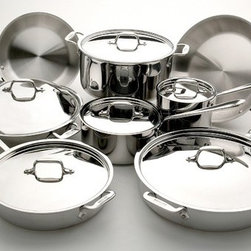 All-Clad - Stainless Steel 14-Piece Cookware Set - The All-Clad Stainless Steel 14-Piece Cookware Set provides the pieces essential for day-to-day cooking. The small surface area and high, straight sides of the saucepans are ideal for making sauces, boiling, or reheating. For stocks or large meals, the stockpot has a wide bottom surface and generous size. The fry pans and chef's pan are ideal for searing, frying, and tossing food. The three-ply construction is both durable and stick resistant, and the aluminum core ensures rapid and even heating. This 14-piece set includes 10- and 12-inch fry pans, 2- and 3-quart saucepans with lids, 3- and 6-quart saut pans with lids, an 8-quart stockpot with lid, and a 12-inch chef's pan with lid. Features: -14-piece stainless steel set with polished finish.-Includes 10- and 12-inch fry pans, 2- and 3-quart saucepans with lids, 3- and 6-quart saut pans with lids, 8-quart stockpot with lid, 12-inch chef's pan with lid, use and care manual, and warranty information..-Signature stay-cool handles are cast from solid stainless-steel and designed for ergonomic comfort.-Suited for all stovetops including electric, gas, ceramic, induction and halogen.-Made in the USA.-Oven/stove safe up to 800 degrees F.-Dishwasher safe.-3-Ply bonded construction for a lifetime of use.-Aluminum core and three-ply construction for durability.-Mirror-finished magnetic stainless-steel exterior is hand-polished to a lustrous shine.-Stick-resistant 18/10 stainless steel interior.-Rapid, even heating on any cooking surface.-Collection: Stainless.-Distressed: No.-Country of Manufacture: United States.-Hardware Finish: Stainless Steel.-Powder Coated Finish: No.-Gloss Finish: No.-Material: Stainless Steel; Aluminum; Copper.-Base Material: Stainless Steel.-Hardware Material: Stainless Steel.-Number of Items Included: 14.-Non Toxic: Yes.-Scratch Resistant: No.-Rust Resistant: No.-Warp Resistant: No.-Chip Resistant: No.-Tarnish Resistant: No.-Stain Resistant: No.-Peel Resistant: No.-Nonreactive: Yes.-Non-Stick Surface: No.-Construction: 3-ply.-Oven Safe: Yes.-Freezer Safe: Yes.-Microwave Safe: No.-Dishwasher Safe: Yes.-Stove Safe: Yes.-Lids Included: Yes -Number of Lids: 6.-Lid Handle: Yes.-Lid Material: Stainless Steel.-Air Vents: No..-Handles: Yes -Non-Slip Handle: No..-Nesting: No.-Outdoor Use: No.-Pouring Rims: No.-Hanging: Yes.-Commercial Use: Yes.-Recycled Content: No.-Eco-Friendly: No.Specifications: -NSF Approved: No.-FDA Compliant: Yes.-PTFE Free: Yes.-PFOA Free: Yes.Assembly: -Assembly Required: No.-Additional Parts Required: No.Warranty: -Lifetime Warranty.-Product Warranty: Lifetime Warranty.