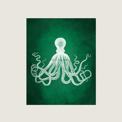 Green Octopus Art Print by Beach House Gallery - I don't often find summery/nautical things in emerald green. Wouldn't this octopus look beautiful with some brass accents?