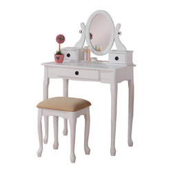 Adarn Inc. - Queen Anne Dainty Make Up Table Vanity Set 3 Drawer Oval Swivel Mirror, White - A dainty design of feminine style perfect for any bedroom or powder room, this cherry / black / walnut / white wood finished vanity set includes a table with a mirror, three functional drawers for storage and a stoolwith a tan colored cushion. Make your dressing area an elegant space with this lovely furniture set.