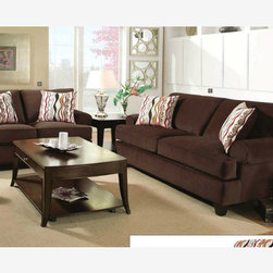 Modern Brown Corded Fabric Sofa Lovesat Living Room Set T Cushion Seat - With a classic two cushion back and T-cushion seating, this stunning living room group has rolled arms and tapered wooden feet. Large accent pillows bring out the texture of the sofa corded fabric, which come in either red and dark brown.