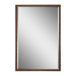 Grace Feyock - Grace Feyock UM-13749 Tempe Transitional Rectangular Mirror - Hand Forged And Hand Hammered Metal Frame Finished In Distressed Rusty Brown With Silver Undertones. Mirror Is Beveled. May Be Hung Either Horizontal Or Vertical.