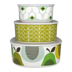 "Orla Kiely - Orla Kiely Melamine Storage Bowls - Set of 3 - Peppermint - Set of 3 melamine storage bowls, featuring Orla Kiely's Linear Stem, Wallflower and Giant Pear prints. Each container features a snap-on lid; bowls nest inside one another when not in use. Perfect for outdoor entertaining or everyday use. 100% melamine; dishwasher safe; not for microwave use. Measures: Large: 8.98"" l x 8.98"" w x 3.94"" h; Medium 7.56"" l x 7.56"" w x 3.36""h; Small: 6.22"" l x 6.22""w x 2.99"" h"