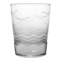 Rolf Glass - Seabreeze Double Old-Fashioned Glasses, Set of 4 - Make yours a double, whether it's an actual cocktail or simply a glass of guava juice, it will taste better in these cut-glass double-old-fashioned tumblers. Gulls soaring above the waves are etched into the glass, creating a summery vibe.