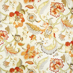 Indienne fabric Jacobean floral orange, Standard Cut - An Indienne fabric. A floral Jacobean fabric. A Tree of Life fabric done in orange.