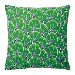 Serena & Lily - Palm Outdoor Pillow Cover Kelly Green - With a botanical print as our starting point, we exaggerated some elements to come up with a pattern that's funky and fun. A striking palette of bright green, cornflower and white gives it the color pops we crave.