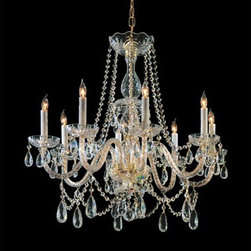 Crystorama Lighting Group - Traditional Crystal Swarovski Strass Crystal Polished Brass Eight-Light Chandeli - Traditional crystal chandeliers are classic timeless and elegant. Crystorama's opulent glass arm chandeliers are nothing short of spectacular. This collection is offered in a variety of crystal grades to fit any budget. For a touch of class order this collection in Gold for traditionalists or in Chrome to match your contemporary or transitional decor.  -Primary Material: Steel  -Crystal: Swarovski Strass  -Chain or Rod Length: 36inches  -Wire Length: 72inches Crystorama Lighting Group - 1128-PB-CL-S