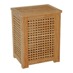 Goldenteak - Teak Hamper Large -  multi use. - Teak Hamper with dimensions 19.75IN W X 15IN D X 25.5IN H. Large teak hamper, latticed and airy, great as a teak hamper or towel holder at the pool, extra storage, bedside table, umbrella holder, etc.