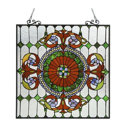 None - Tiffany Style Victorian Design Window Panel - This Tiffany style Victorian design Window Panel contains over 575 hand cut pieces of Tiffany style glass and 85 Jewels called Cabochons. The eye-catching contrast will add color and warmth to any setting.