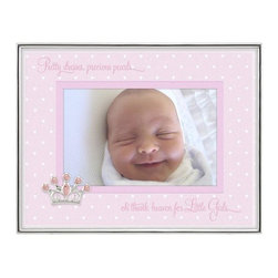 "Home Decorators Collection - Metal Shadowbox Picture Frame - Whether you want to display a photo of a girl or a boy, our Metal Shadowbox Picture Frame has you covered with two different mat options. The pink mat is printed with a pattern of white hearts and the phrase ""Pretty dresses, precious pearls, oh thank heaven for Little Girls."" It features a jeweled crown embellishment. The blue mat has ""Baseball caps and lots of noise, oh thank heaven for Little Boys"" printed alongside its pattern of white stars. It features a silver rocking horse embellishment. Holds one 4"" x 6"" photo. Metal shadowbox frame in silver finish. Black flocked back with one-way easel. Includes gift box."
