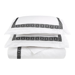 Kendell Full/Queen Duvet Cover Set Cotton - White/Black - The Kendell Duvet Cover set features an embroidery pattern that is signature to the Kendell Collection. The Duvet Cover matches well with other items from the Kendell collection but it can also be mixed and matched with other bedding accessories to create a unique customized look for your bedroom.