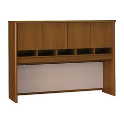 Bush Business - 60 in. Desk Hutch w Fabric Covered Tack Board - Mounts on 60 in. Credenza or on any 60 in.-wide desk combination. Includes fabric-covered tack board for organizing key information. Fully finished back panel allows hutch to act as work partition. Accepts task lighting (not included). Four doors conceal entire upper storage area. European-style, self-closing, adjustable hinges. 58.858 in. W x 15.354 in. D x 43.008 in. H