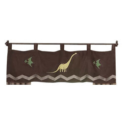 Sweet Jojo Designs - Dinosaur Land Window Valance - Sweet Jojo Designs makes this beautiful tab top window valance to coordinate perfectly with the matching Dinosaur Land bedding set. This window valance is designed to fit most standard windows.