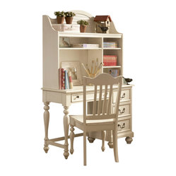 Lea Retreat White Desk w/ Hutch in Antique White