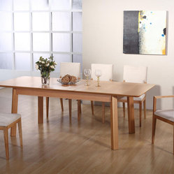 Extendable Rectangular Wooden and Microfiber Seats Designer Modern Dining Room