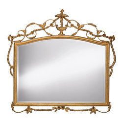 """Inviting Home - Adam Style Horizontal Wall Mirror - Adam style horizontal mirror in carved wood and wrought iron frame; 56-1/2""""W x 3""""D x 53-1/2""""H; hand-crafted in Italy ; Elegant horizontal mirror hand crafted in Adam style. Wall mirror has an elegant frame made from carved wood and wrought iron. Stylized Greek urn graceful scrolling and flowers all adorn the hand crafted frame of this horizontal mirror. Mirror has a beveled glass and finished in hand applied antiqued gold metal leaf and has a beveled glass. Adam style horizontal wall mirror is hand-crafted in Italy and will create a great over-mantel piece."""