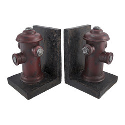 Zeckos - Decorative Antique Fire Hydrant Bookends - These decorative bookends add a rustic, vintage accent to your home decor. Made of cold cast resin, each bookend measures 6 1/2 inches tall, 4 3/4 inches long, and 4 1/2 inches wide. They are hand painted and have a distressed finish. This pair of bookends looks great on bookcases, shelves, mantel, and desks and makes a great gift.