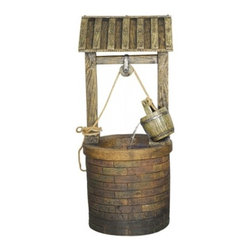 YOSEMITE HOME DECOR - Vintage Style Wishing Well - This adorable old-fashioned fountain is great for outdoor use.  The polyresin material makes it durable, while the intricate details make it look just like a wishing well.  Water pours down from the bucket into the well in a constant stream.
