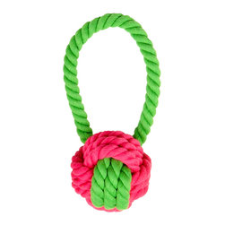 Waggo - Have a Ball Rope Dog Toy, Pink Green - Our Have a Ball Rope Toy is great for a game of fetch, tug of war or just to chew! A classic shape and fun color combinations make a basic ball toy anything but ordinary. Sturdy cotton helps keep your dogs teeth and gums clean and healthy.