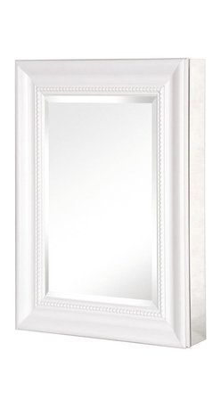 Pegasus - Deco Framed Medicine Cabinet w Mirror - SP459 - Color: WhiteManufacturer SKU: SP4597. Includes side mirror and hanging kit. Adjustable glass shelves. Rust-free aluminum case. Self-closing hinges open upto 110 degree. Recess or surface mount. 15 in. W x 5.5 in. D x 26 in. H (25.8 lbs.)