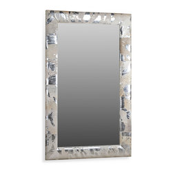Kathy Kuo Home - Moro Hollywood Regency Grey Silver Metallic Hide Floor Mirror - Mounted on the wall or used as a floor mirror, this bold contemporary metallic framed mirror makes a grand statement of light and modernism. The frame wrapped in matte gray and silver leather creates a slightly softened, luxurious effect.