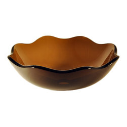 Novatto - FLORE Light Brown Flower Shape Glass Vessel Sink, 16 Inches Wide - The Flore is a single layer vessel constructed of light brown high tempered glass in a graceful flower shape. This vessel is a great addition for an elegant looking bath. Novatto uses advanced technology, including computerized glass processing, to produce unique glass basins with unmatched structural integrity and longevity. Internal testing has found these glass vessels to be very durable and forgiving. Items such as toothbrushes or small jewelry should not scratch the surface. For best cleaning results, a soft cloth with mild soap and water or a non-abrasive glass cleaner is recommended. Made with the highest standards of quality and creative design, Novatto sinks add art and function to any bath or powder room.