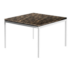 Knoll - Knoll End Table, Emperador Dark Natural Marble - Add modern luxury to any nook in your home with this stylish midcentury piece. Elegantly designed by Florence Knoll, this end table is simply exquisite. Lose yourself in the marble surface, and enjoy the stately structure of the polished chrome legs.