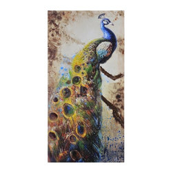 Ren-Wil - Peafowl Canvas Wall Art - 30W x 60H in. - OL914 - Shop for Framed Art and Posters from Hayneedle.com! Glamorous and flamboyant the Peafowl Canvas Wall Art 30W x 60H in. perfectly captures the essence of peacocks. This canvas print is by Olivia Salazar and includes hanging hardware.About Ren-WilFor over 45 years Ren-Wil has been creating quality wall decor mirrors and lighting that enhances any space. The company's talented team of in-house artists travels the world to find the newest materials fashions and trends and then applies them to their work. The team also uses multi-media designs for many of their pieces. Ren-Wil is the leader in Alternative Wall Decor and is the market leader in Canada. They thrive on offering a fresh innovative product line and superior customer service.