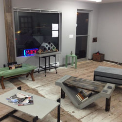 Concrete Market showroom and retail space. A chapter of SCC - Concrete sinks, coffee tables, dining tables, wine cubes and more. Now open at 917 MLK in Tacoma.