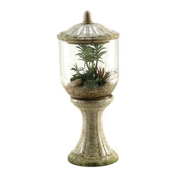 D&W Silks - D&W Silks Succulents, Aloe And Echeveria In Glass And Ceramic Terrarium With Lid - Succulents, aloe and echeveria in glass and ceramic terrarium with lid