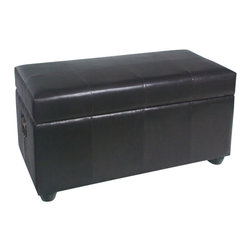International Caravan - International Caravan Carmel Faux Leather Bench Trunk in Chocolate - International Caravan - Living Room Benches - YWLF2186DC - For over 44 years International Caravan has been one of the leaders in quality outdoor and indoor furniture. Using only the finest materials they bring skill craftsmanship and complete dedication to those who enjoy their furniture. You cannot go wrong with any of International Caravan's beautifully constructed pieces of furniture that are sure to be a focal point inside or outside of your home for years to come.