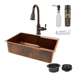 "Premier Copper Products - 33"" Kitchen Sink w/ Faucet Space w/ORB Faucet - PACKAGE INCLUDES:"