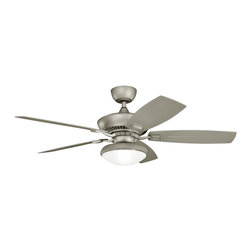 """Kichler - Coastal 52"""" Canfield Climates™ Silver Light Outdoor Ceiling Fan - Sleek and crisp this outdoor ceiling fan is classic and unadorned. An antique satin silver finish motor is paired with matching all weather ABS blades for a cooling breeze during hotter weather. An opal glass light kit adds warm illumination. From the Kichler Canfield Climates collection of ceiling fans. Antique satin silver motor finish. Five matching all weather ABS blades. 52"""" blade span. 14 degree blade pitch. 188x25mm motor size. Wet rated. Pull chain operation. Optional cool touch remote control. Integrated light. Includes one 18 watt GU24 CFL bulb. Opal glass. Light kit is 11"""" wide 4 1/2"""" high. Fan is 11 1/4"""" high from ceiling to blade. Fan is 13"""" high from ceiling to bottom of switch housing. (IMAP)  Antique satin silver motor finish.  Five matching all weather ABS blades.  From the Kichler lighting collection.  52"""" blade span.  14 degree blade pitch.  Climates ™ construction withstands saltwater spray and extreme temperatures.  Ideal for coastal areas.  188x25mm motor size.  Wet rated.  Pull chain operation.  Optional cool touch remote control.  Integrated light.  Includes one 18 watt GU24 CFL bulb.  Opal glass.  Light kit is 11"""" wide 4 1/2"""" high.  Fan is 11 1/4"""" high from ceiling to blade.  Fan is 13"""" high from ceiling to bottom of switch housing."""