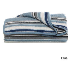 Stone Cottage - Stone Cottage Fresno Cotton Quilted Throw - Bring casual,contemporary appeal to any room with a charming Fresno throw. Designed by Stone Cottage,these comfortable throws feature a quilted cotton construction and are available in your choice of blue or neutral striped patterns.