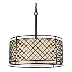 "Franklin Iron Works - Contemporary Metal Lattice 4-Light 20 1/4"" Wide Bronze Pendant Light - Give your living space a modern upgrade with this bronze pendant light. This captivating look is derived from industrial styles with a metal lattice shade. A white acrylic diffuser in the center provides even lighting. Bronze finish. White acrylic diffuser. Takes four maximum 60 watt bulbs (not included). Includes 12 feet cord and 6 foot chain. 21 1/2"" high. 20"" wide. Diffuser is 17 1/2"" wide. Canopy is 6"" wide. Hang weight 10 lbs.  Bronze finish.  White acrylic diffuser.  Takes four maximum 60 watt bulbs (not included).  Includes 12 feet cord and 6 foot chain.  21 1/2"" high.  20"" wide.  Diffuser is 17 1/2"" wide.  Canopy is 6"" wide.  Hang weight 10 lbs."