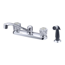 LessCare - Chrome Finish Kitchen Faucet With Water Sprayer LK1C, 3 holes (8 in spread) - *Country/Region of Manufacture: China