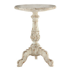 Kathy Kuo Home - Vintage French Country French White Acanthus Leaf Side Table - A quaint pedestal table that will sit perfectly next to your favorite chair. A hand aged white finish gives the feeling of a well-loved piece with delicate leaf carvings accenting the base.