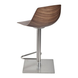 """Karri Monni 2011 for LaPalma - Miunn Barstool - Stool with swivel seat and adjustable height with gas-spring. Sandblasted stainless steel leg and zinc-plated covered with a stainless steel sheet """"linen pattern"""". Seat in 3-D curved plywood."""
